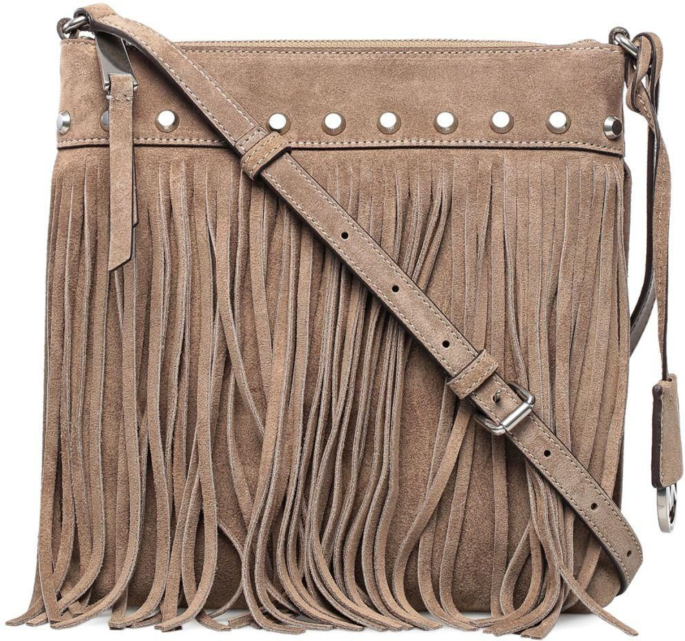 Michael Kors Suede Billy Fringe Small Dark Dune