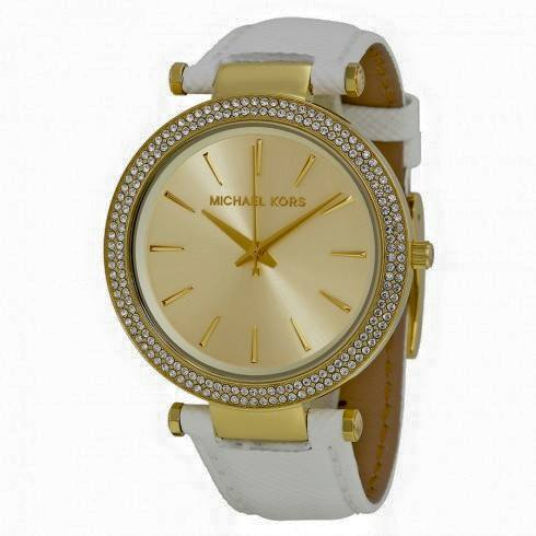 Darci Champange Dial White Leather Ladies Watch