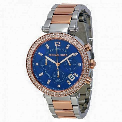 Parker Mini Chronograph Blue Dial Two-tone Ladies Watch