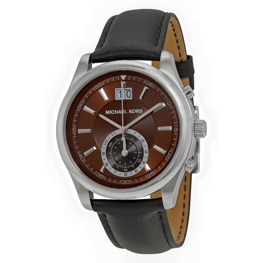 IDEN SILVER-TONE AND LEATHER WATCH
