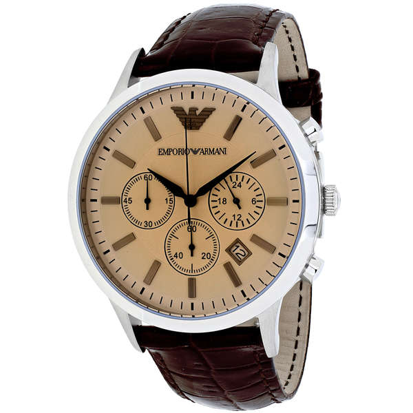 armani Chronograph Brown Embossed Leather Strap Watch