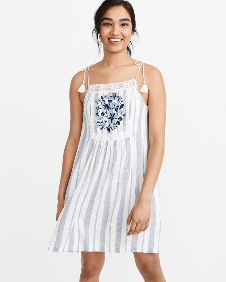 TIE-SHOULDER EMBROIDERED SWING DRESS BLUE
