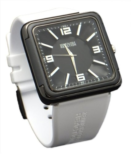 Kenneth Cole RK1260 Men Reaction Casual Square White Rubber Watch