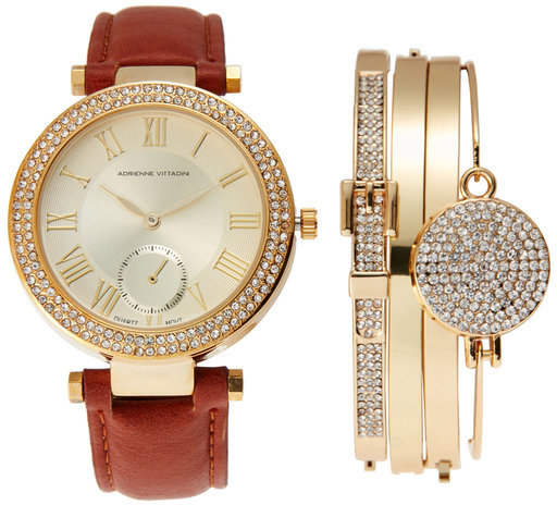 Adrienne Vittadini ADST1580G165 Gold-Tone & Brown Watch & Bracelet