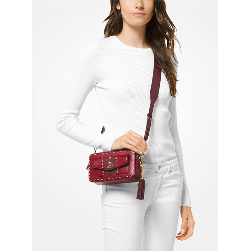 Michael Kors Studded Leather Crossbody - Red