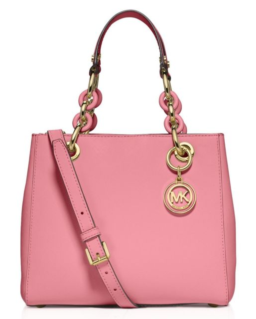 Michael Kors Cynthia Pink Leather Small Satchel