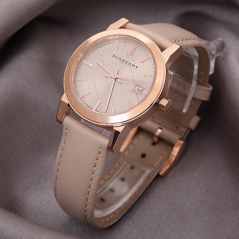 THE CITY BEIGE LEATHER STRAP LADIES WATCH BU9109