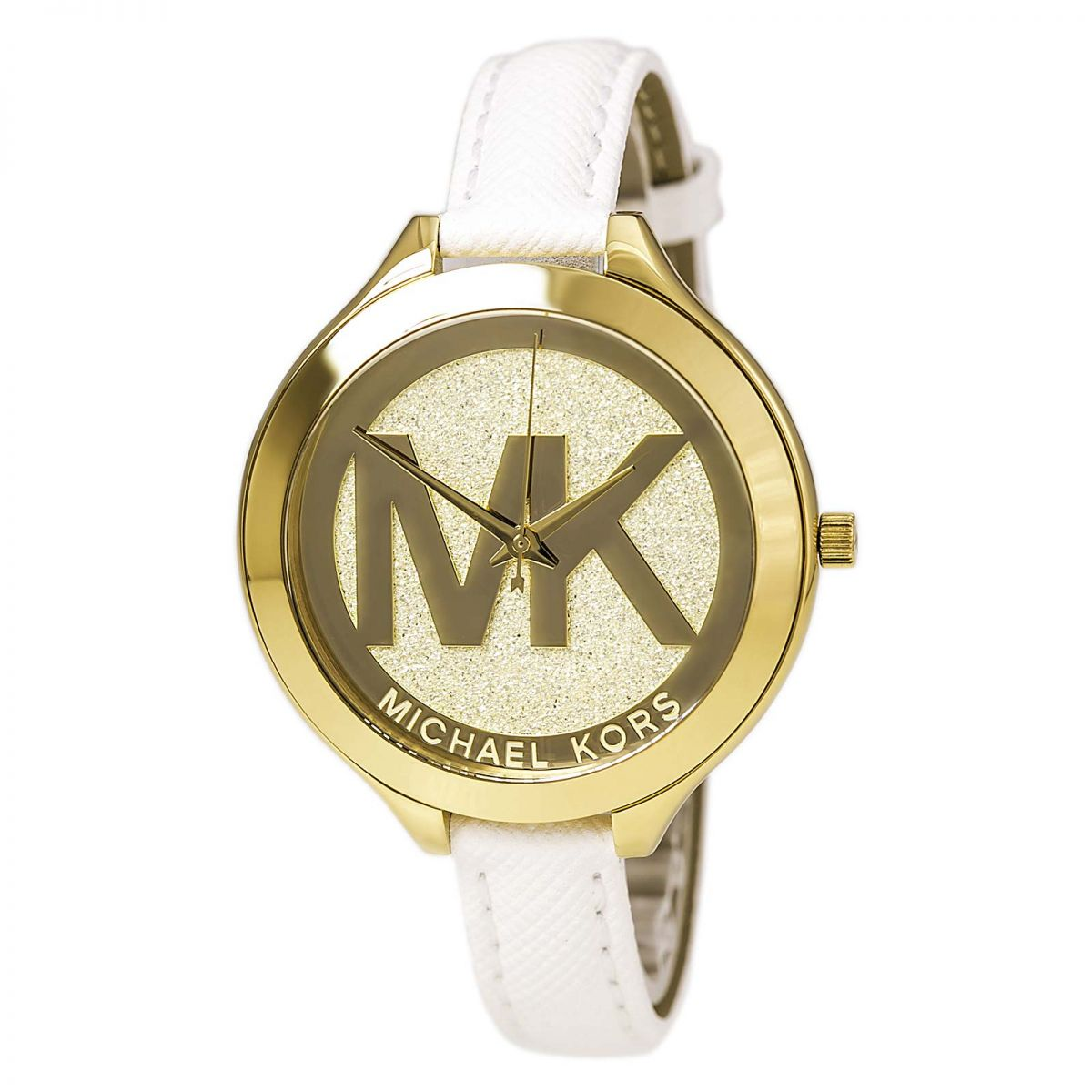 Slim Runway Champagne Dial White Leather Ladies Watch