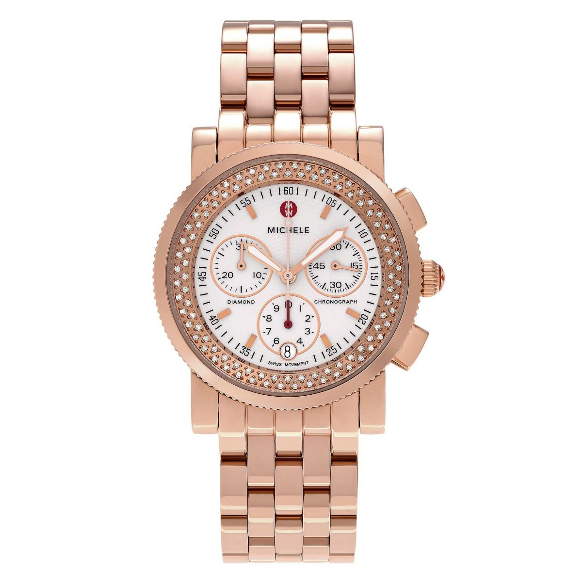 Michele Rose Gold Mother of Pearl Diamond Watch