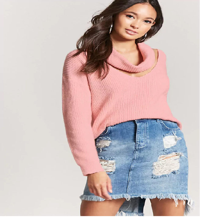 Ribbed Cutout Cowl Neck Sweater