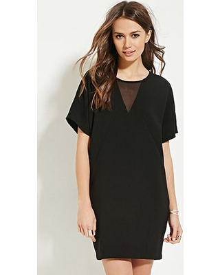 CHIFFON PANELED DOLMAN DRESS